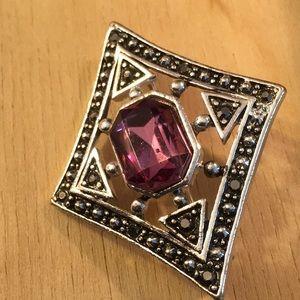 Silver Tone w/ Purple Stone Pin